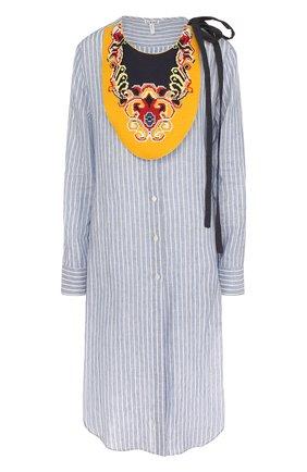 Льняное платье-рубашка с контрастным воротником Loewe разноцветное | Фото №1