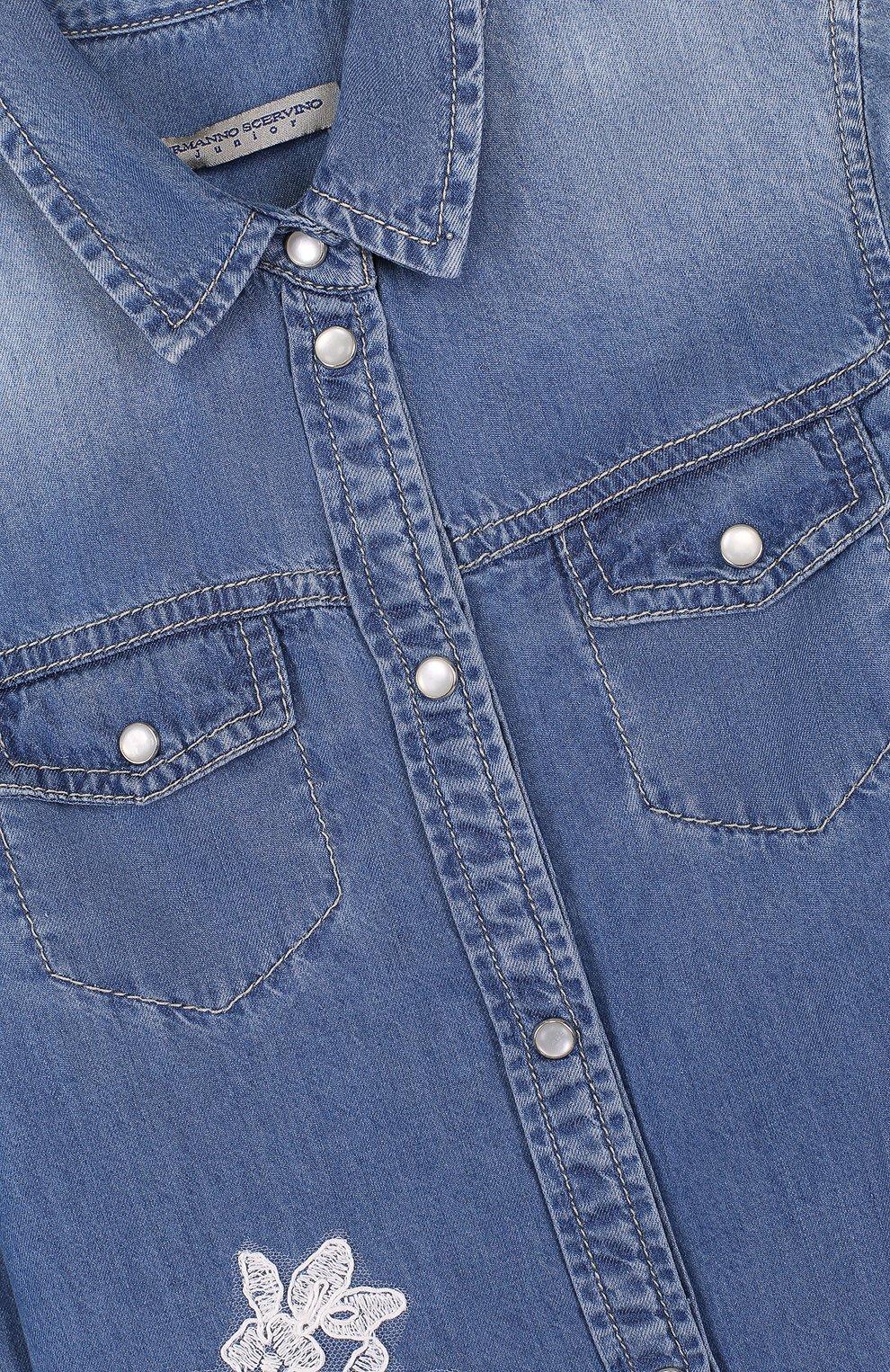 Детское рубашка с декоративными потертостями и кружевной аппликацией ERMANNO SCERVINO синего цвета, арт. 42 I CM05/4-8 | Фото 3