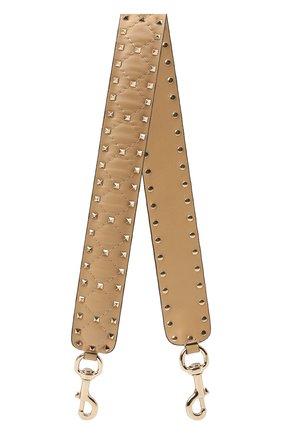 Женские кожаный ремень для сумки valentino garavani rockstud spike VALENTINO бежевого цвета, арт. QW1P0P37/NAP | Фото 1