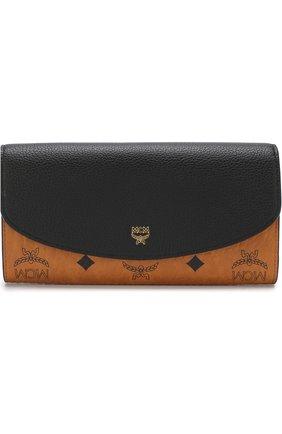 Кожаный кошелек с клапаном и логотипом бренда | Фото №1