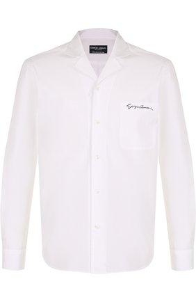 Мужская хлопковая рубашка с отложным воротником GIORGIO ARMANI белого цвета, арт. WSCVTT/WS27C | Фото 1 (Длина (для топов): Стандартные; Материал внешний: Хлопок; Рукава: Длинные; Статус проверки: Проверено; Случай: Повседневный)