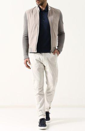 Мужское поло с длинными рукавами из смеси кашемира и шелка TOM FORD синего цвета, арт. BPH90/TFK132 | Фото 2