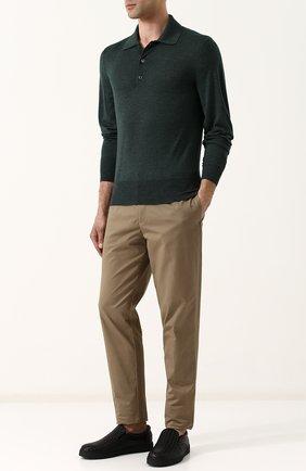 Мужское поло с длинными рукавами из смеси кашемира и шелка TOM FORD темно-зеленого цвета, арт. BPH90/TFK132 | Фото 2