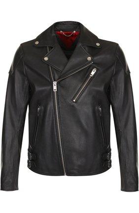 Кожаная куртка с косой молнией   Фото №1
