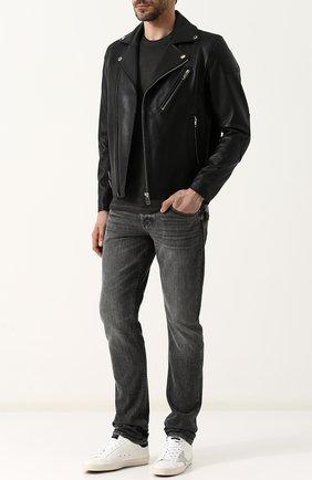 Кожаная куртка с косой молнией Diesel черная   Фото №1