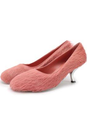 Туфли с отделкой мехом на фигурном каблуке | Фото №1