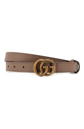 Женский кожаный ремень с логотипом бренда на пряжке GUCCI бежевого цвета, арт. 409417/AP00T   Фото 1