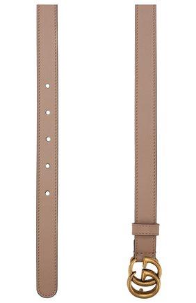 Женский кожаный ремень с логотипом бренда на пряжке GUCCI бежевого цвета, арт. 409417/AP00T   Фото 2