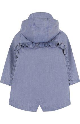 Дождевик с капюшоном и оборками Gosoaky голубого цвета | Фото №1