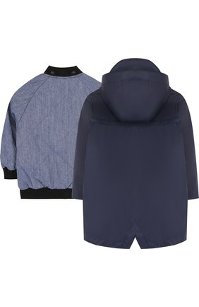 Комплект из дождевика с капюшоном и текстильного бомбера Gosoaky синего цвета | Фото №1