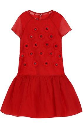 Мини-платье из смеси шелка и хлопка с аппликациями | Фото №1