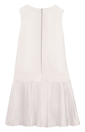 Детское мини-платье из смеси шелка и хлопка с плиссировкой и аппликациями Quis Quis белого цвета | Фото №1