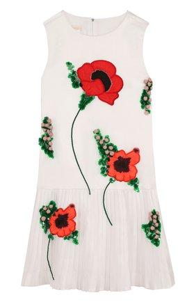 Мини-платье из смеси шелка и хлопка с плиссировкой и аппликациями | Фото №1