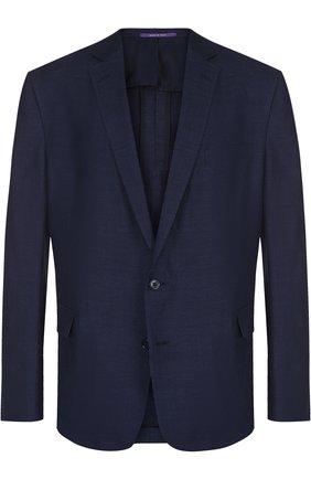 Мужской пиджак из смеси хлопка и льна RALPH LAUREN темно-синего цвета, арт. 798694213 | Фото 1