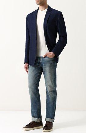 Мужской пиджак из смеси хлопка и льна RALPH LAUREN темно-синего цвета, арт. 798694213 | Фото 2
