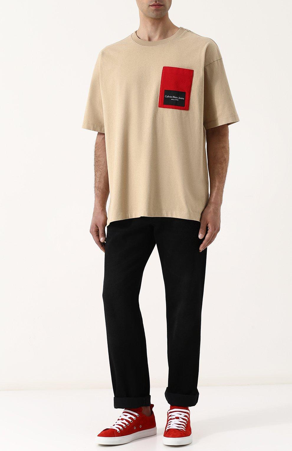 Хлопковая футболка свободного кроя Calvin Klein Jeans бежевая | Фото №2
