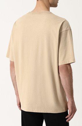 Хлопковая футболка свободного кроя Calvin Klein Jeans бежевая | Фото №4