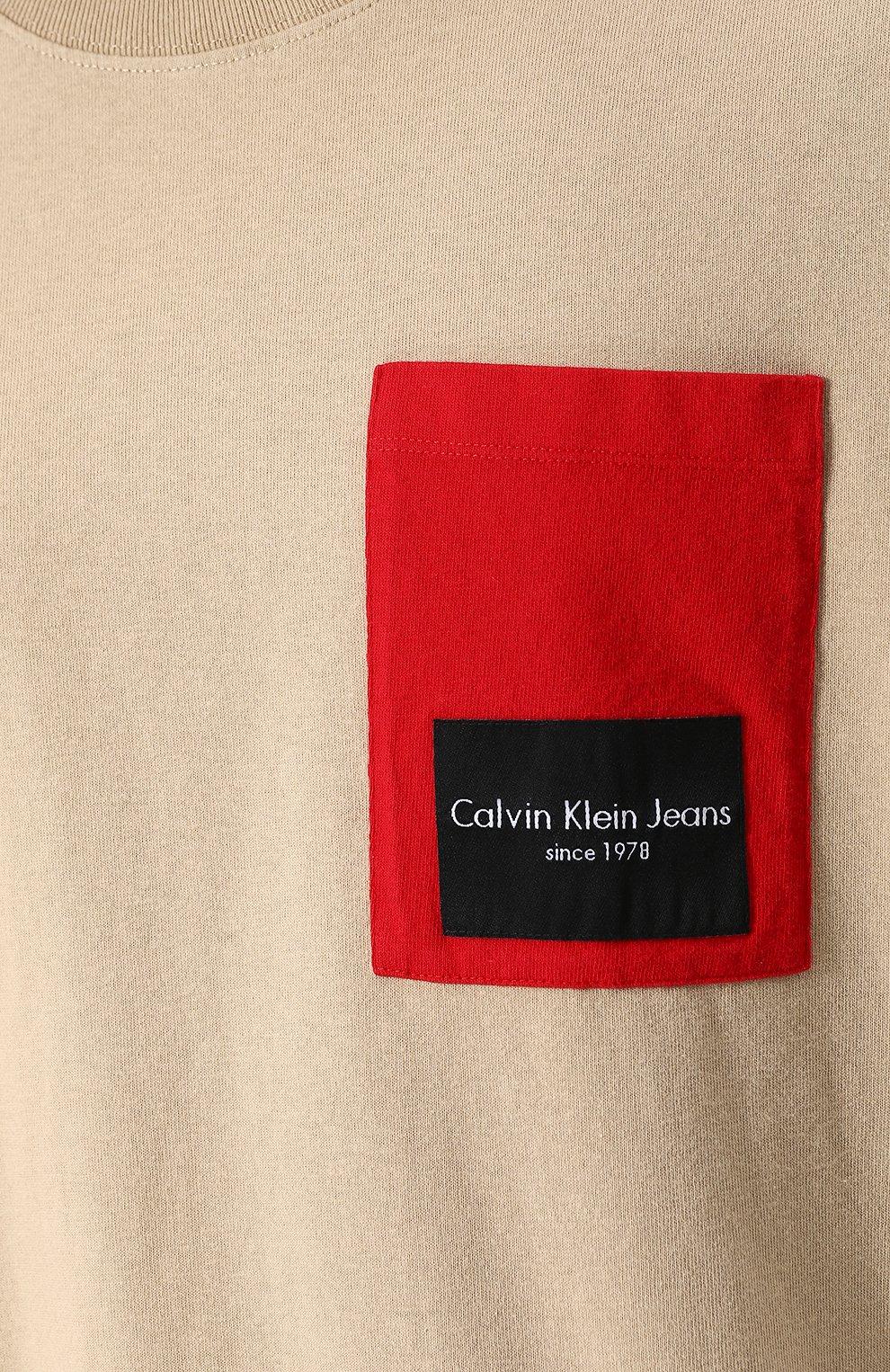 Хлопковая футболка свободного кроя Calvin Klein Jeans бежевая | Фото №5
