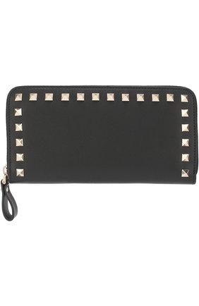 Женские кожаный кошелек valentino garavani rockstud VALENTINO черного цвета, арт. ZW2P0645/B0L | Фото 1