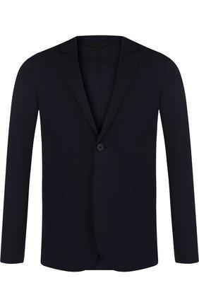 Однобортный пиджак из вискозы HUGO темно-синий   Фото №1