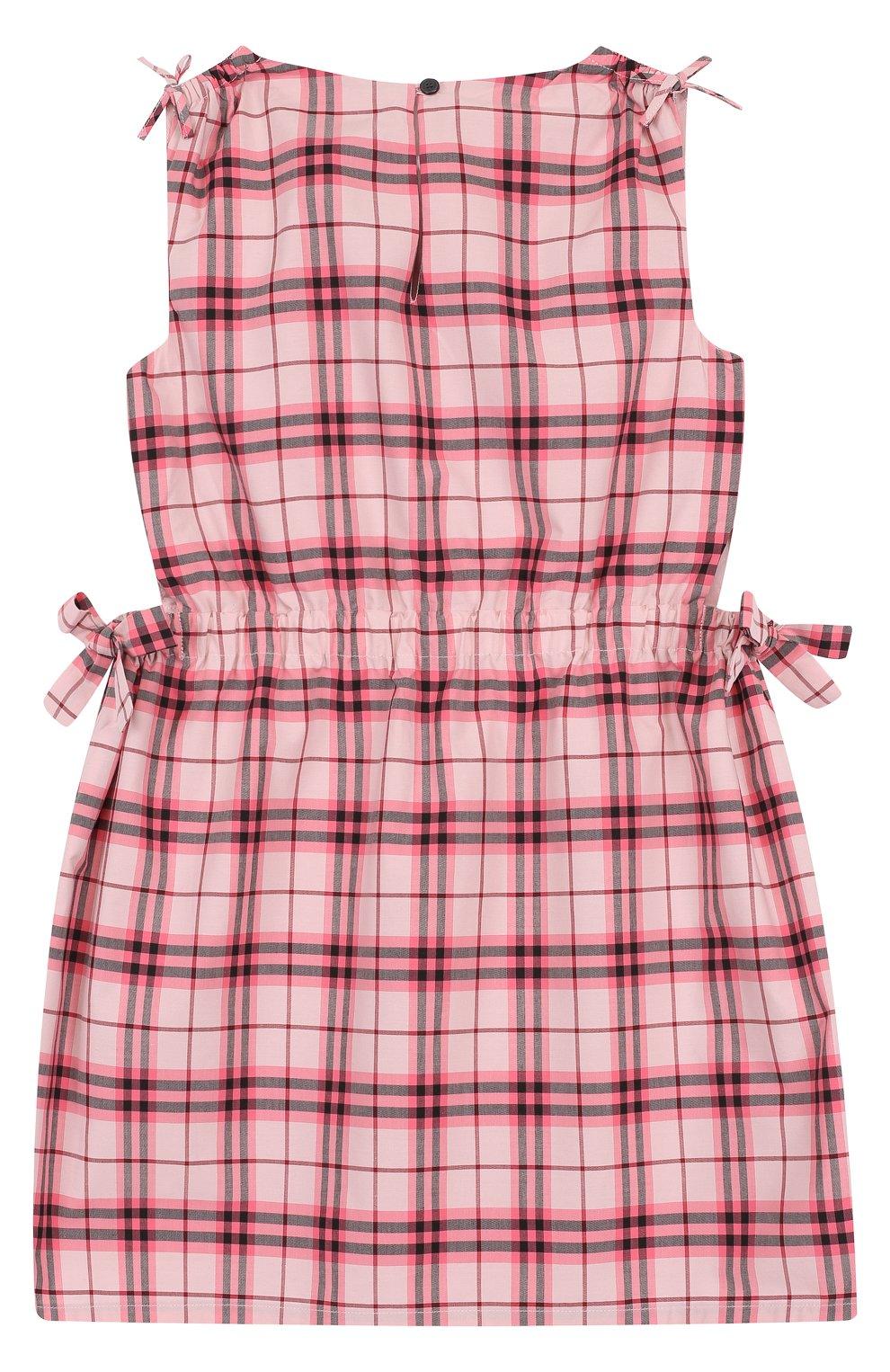 0c6aa78130a Детское хлопковое мини-платье с принтом и поясом на кулиске Burberry  розового цвета