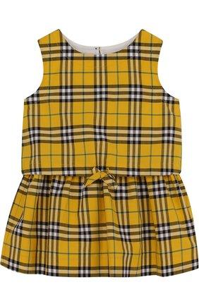 Хлопковое мини-платье с поясом на кулиске   Фото №1