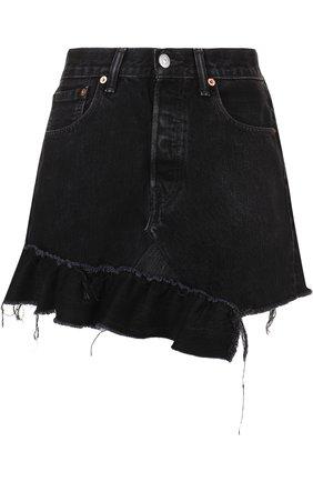 Джинсовая мини-юбка с оборками | Фото №1