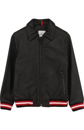 Кожаная куртка на молнии с эластичными манжетами и отложным воротником   Фото №1