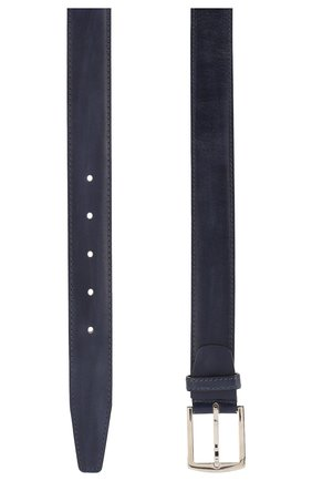 Кожаный ремень с металлической пряжкой Kiton темно-синий | Фото №1