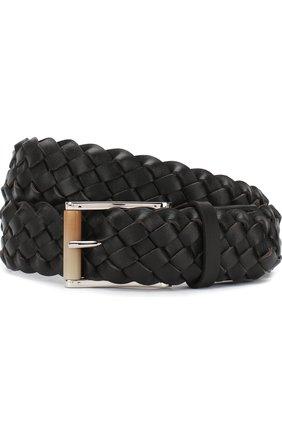 Мужской плетеный кожаный ремень с металлической пряжкой KITON темно-коричневого цвета, арт. USC22CCN00956 | Фото 1