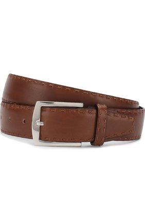 Мужской кожаный ремень KITON коричневого цвета, арт. USC4PN00100 | Фото 1