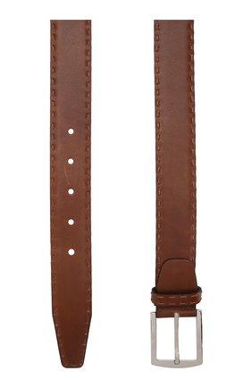 Мужской кожаный ремень KITON коричневого цвета, арт. USC4PN00100 | Фото 2