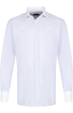Мужская хлопковая сорочка с воротником кент TOM FORD голубого цвета, арт. 3FT731/94SWAX | Фото 1