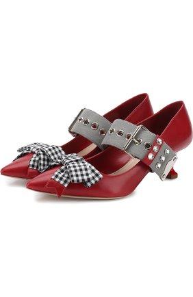 Кожаные туфли с бантом на каблуке kitten heel Miu Miu красные | Фото №1