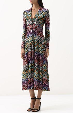 Приталенное вязаное платье-миди | Фото №3