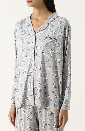 Пижама из вискозы с принтом Mey серая | Фото №1