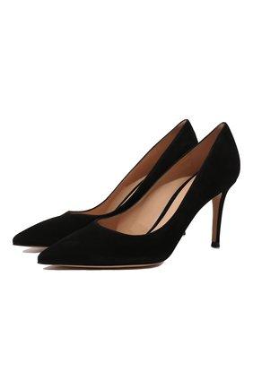 Женская замшевые туфли gianvito 85 GIANVITO ROSSI черного цвета, арт. G24580.85RIC.CAMNER0   Фото 1