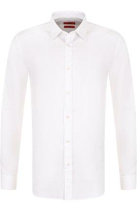 Мужская хлопковая сорочка с воротником кент HUGO белого цвета, арт. 50372553 | Фото 1