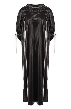 Платье-миди с контрастной отделкой и воротником-стойкой | Фото №1