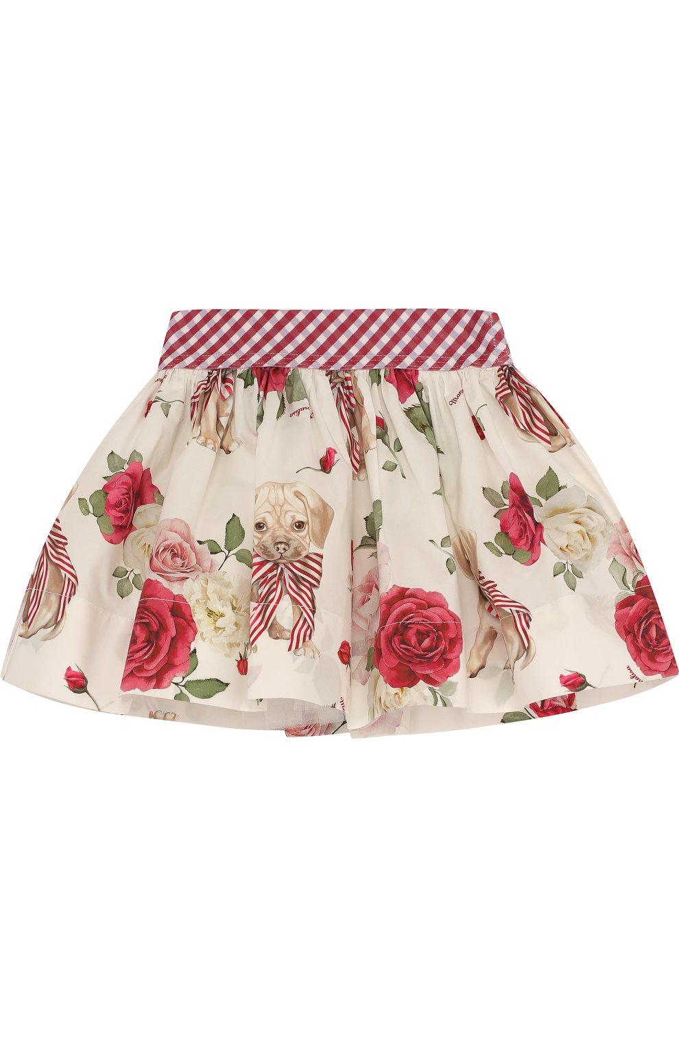 Хлопковая юбка с подкладом и широким поясом   Фото №1