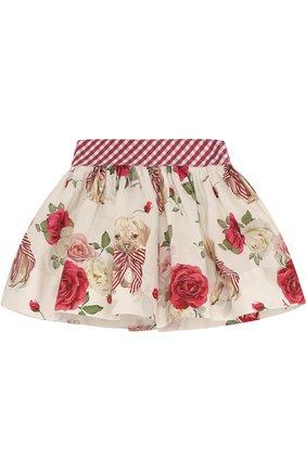 Хлопковая юбка с подкладом и широким поясом | Фото №1
