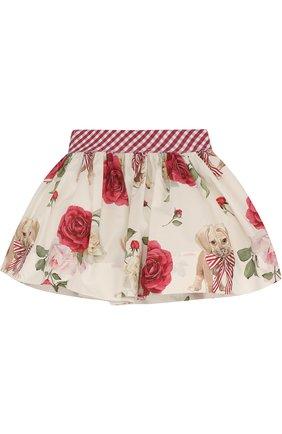 Хлопковая юбка с подкладом и широким поясом   Фото №2