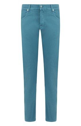 Хлопковые брюки прямого кроя Kiton бирюзовые | Фото №1