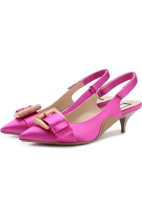 Атласные туфли с ремешком на каблуке kitten heel | Фото №1