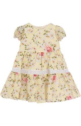 Хлопковое платье с принтом и кружевной отделкой | Фото №1