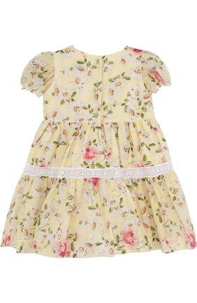 Хлопковое платье с принтом и кружевной отделкой | Фото №2