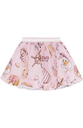 Хлопковая юбка с принтом и эластичным поясом | Фото №1