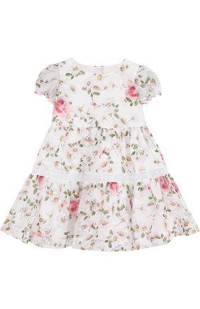 Женский хлопковое платье с принтом и кружевной отделкой MONNALISA белого цвета, арт. 311909 | Фото 1