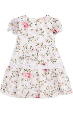 Женский хлопковое платье с принтом и кружевной отделкой MONNALISA белого цвета, арт. 311909 | Фото 2