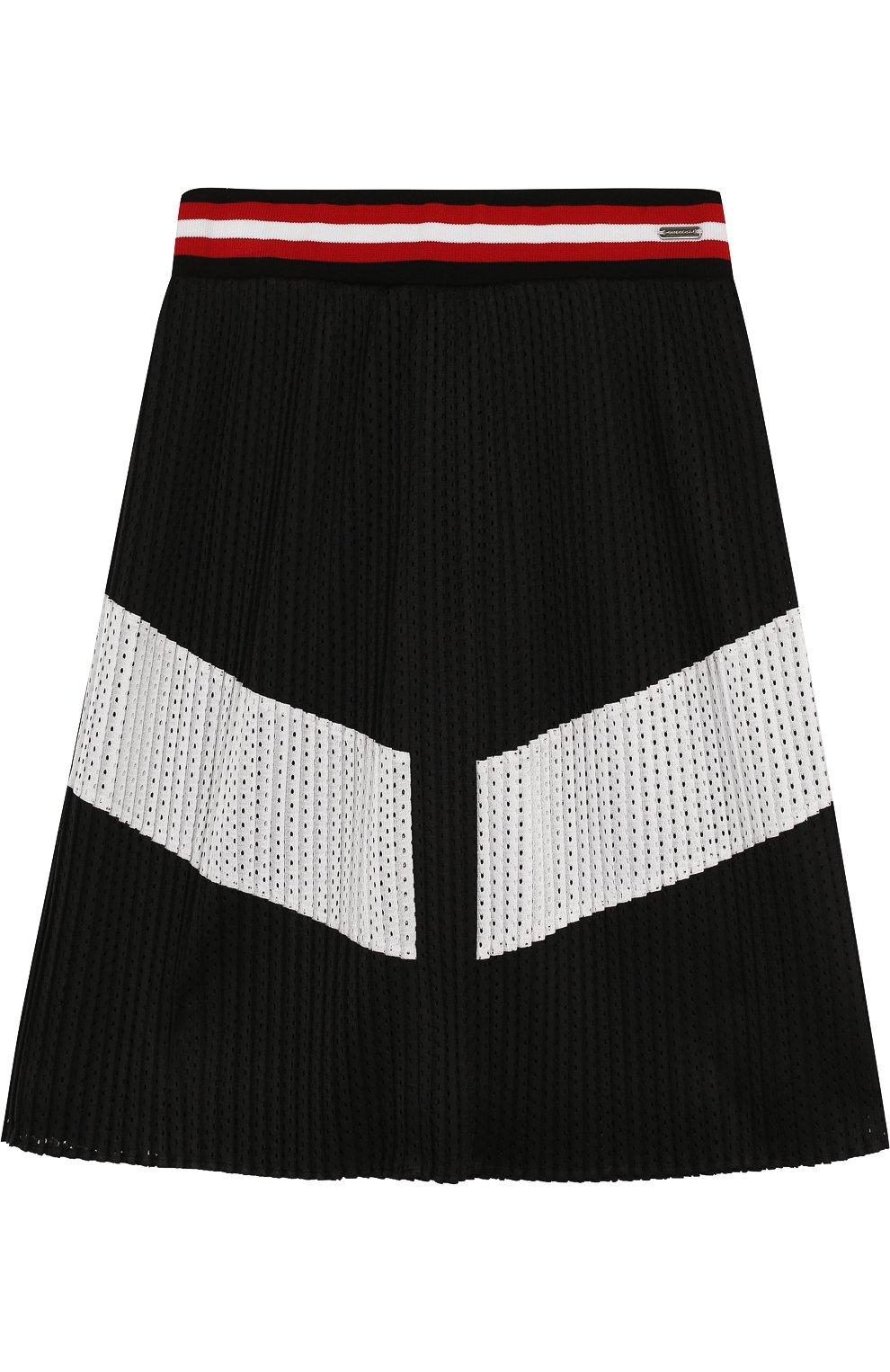 Плиссированная юбка с перфорацией | Фото №1